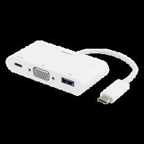 DELTACO USB-C dokstacija, 60W USB-C PD, 1.5A USB-A, VGA, balta
