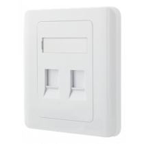 DELTACO recessed Keystone wall outlet, 2 ports, dust cover, white / VR-227