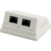 Wall outlet, Surface UTP, 2xRJ45, Angled, Cat5e DELTACO / VR-4
