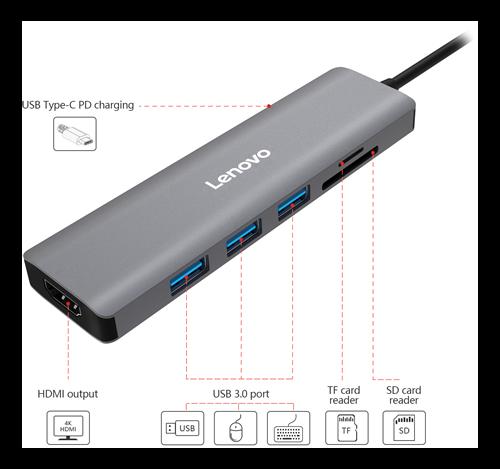 Lenovo C112, USB-C hub with HDMI / USB / memory card reader, USB-C PD, gray / C112