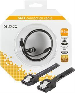 SATA cable DELTACO, 0.5m, black / SATA-1001-K