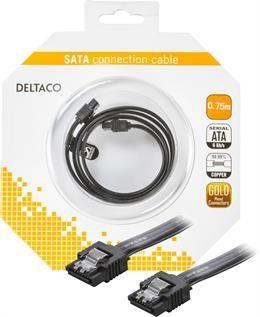 SATA cable DELTACO, 0.7m, black / SATA-1002-K