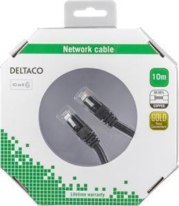 DELTACO U / UTP Cat6 patch cable, 10m, 250MHz, Delta-certified, LSZH, black/ TP-610S-K