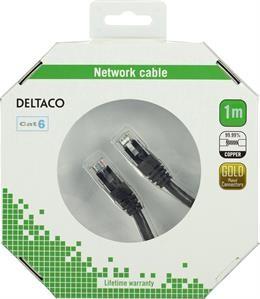 UTP cable DELTACO CAT6, 1.0m, black / TP-61S-K