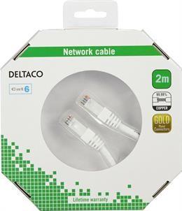 DELTACO U / UTP Cat6 patch cable, 2m, 250MHz, Delta-certified, LSZH, white  / TP-62V-K