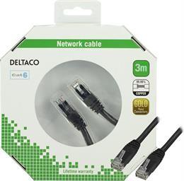 DELTACO UTP Cat6 patch cable, 3m, 250MHz, Delta certirairad, LSZH, black / TP-63S-K