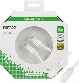 UTP cable DELTACO CAT6, 5.0m, white / TP-65V-K