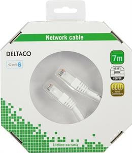 UTP cable DELTACO CAT6, 7.0m, white / TP-67V-K