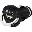Car charger DELTACO, 2.1A, USB, black / USB-CAR20