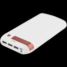 Power bank STREETZ 16000mAh, 1x2.1A+2x1A, white-red / PB-1083
