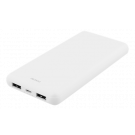 DELTACO 10 000 mAh Power bank, 2x USB-A, 2.1A, LED indicator, white / PB-1071