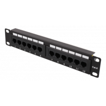 "10 ""patch panel, 12xRJ45, Cat6, 1U, 110-terminal, unshielded, metal, black / 10-PATCH17"