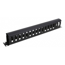 Cable management, metal 1U DELTACO black / 19-25