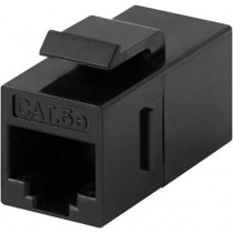DELTACO Connector for keystone mounting, UTP (unshielded) Cat5e, ho-ho, black / 396-8