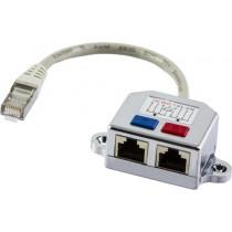 DELTACO Y cable for network, 1xRJ45 ha to 2xRJ45 ho, FTP Cat5 679-F