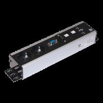 Power outlet AXESSLINE 2xCEE 7/4, 2xUSB-A, 2xRJ45, 1xVGA, 1xHDMI, black/silver / 935-T2DC