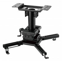 Projector mount DELTACO OFFICE for flat/inclined ceilings, tilt, swivel, rotate, 45 kg, black / ARM-0410