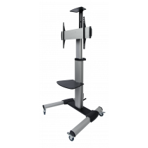"""Height-adjustable aluminum trolley DELTACO OFFICE with swivel castors, 37-70"""", up to 50 kg, tilt, rotate, gray / ARM-0450"""