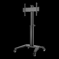 "Aluminum trolley DELTACO OFFICE height-adjustable, with swivel castors, 37-70 "", black / ARM-0451"