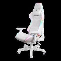 Gaming chair DELTACO GAMING WHITE LINE, RGB, neck cushion, back cushion, white / GAM-080-W