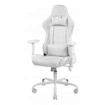 Gaming chair DELTACO GAMING WCH80 in PU-leather, ergonomic, 5-point wheelbase, high back, white / GAM-096-W