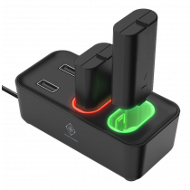 XBOX Series S/X charging station DELTACO GAMING for dual rechargeable battery packs, 2 included battery packs, LED indicator, black / GAM-123