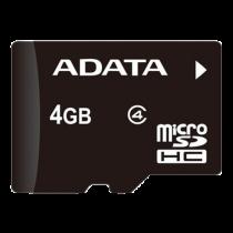 Memory card A-DATA microSDHC, 4GB, speed class 4, black AUSDH4GCL4-R / ADATA-185