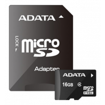 Memory card A-DATA microSDHC, 16GB, Speed Class 4, 5/14 MB/s,  incl. SD adapter, black AUSDH16GCL4-RA1 / ADATA-275
