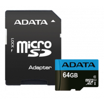 Memory card A-DATA MicroSDXC, 64GB, with SD adapter, UHS-I, Class 10, A1, Blue / ADATA-391