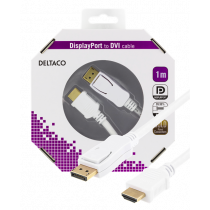 DELTACO DisplayPort to HDMI monitor cable, 20-pin m - 19-pin m 1m, white DP-3011-K