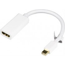 Adapter DELTACO mini DisplayPort to HDMI, 20-pin ha - ho, 0.2m, white / DP-HDMI14-K