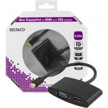 DELTACO mini DP to HDMI and VGA adapter, 20 pin ha - 19 pin ho and 15 pin ho, 0.25m, black / DP-HDMIVGA-K