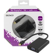 DELTACO mini DP to VGA adapter + audio , Full HD - 60Hz, black, 0.25m, 3.5mm, 20-pin ha - 15-pin ho / DP-VGA13-K