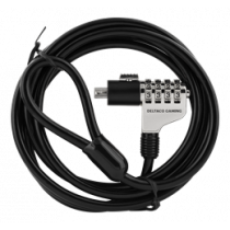 DELTACO GAM-014 GAMING Wire Lock with Combination Code, 4-Figures, 1.8m, Steel Wire, Ø 3mm, Black / GAM-014