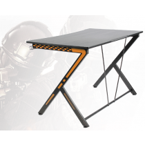 Gaming table, metal legs, PVC treated surface, built-in hanger for headset, black/orange DELTACO GAMING / GAM-049