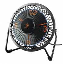 USB table fan DELTACO GAMING with clock, black / GAM-054
