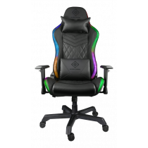 DELTACO GAMING RGB Gaming chair in artificial leather, 332 RGB positions, neck pillow, back pillow, black / GAM-080