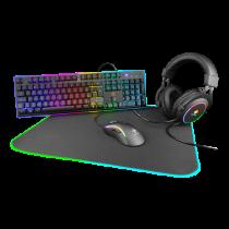 Gaming Kit DELTACO GAMING 4-in-1, UK, RGB, Headset / Keyboard / Mouse / Mousepad, black / GAM-084-UK