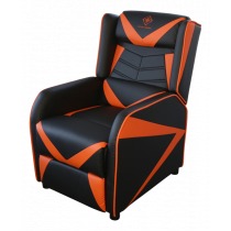 DELTACO GAMING Armchair, artificial leather, recliner, 49cm wide seat cushion, black / orange GAM-087