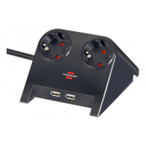 Brennenstuhl Desktop Power, Power Jack with USB Charging, 2xCEE 7/4 Output, 1xCEE 7/7 Connection, 2xUSB 2.1A, 1.8m Cable, Black 1153500222 / GT-653