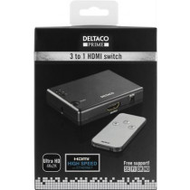 DELTACO PRIME HDMI Switch, 3 inputs for 1 output, HDMI High Speed ​​with Ethernet, 4K, Ultra HD , Black  / HDMI-7019