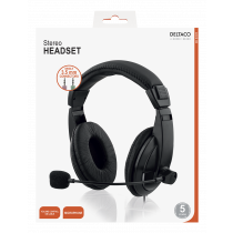 DELTACO headset, closed, volume control on cable, 2x3.5mm, 2m cable, black / HL-56