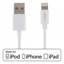 DELTACO USB Sync / Cable, iPad, iPhone and iPod, MFi, USB Type A ha - Lightning ha, 1m, white / IPLH-161