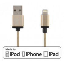 Lightning cable, 1m, 2,4A, braided, MFi DELTACO gold / IPLH-226F