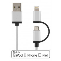 Sync / charging cable DELTACO, 2m, silver / IPLH-249