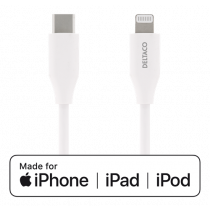 DELTACO USB-C to Lightning cable, 0.25m, 9V / 2A PD, 5V / 3A PD, 5V / 2.4A, USB 2.0, white / IPLH-300M