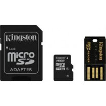 Memory card, microSDHC, 16GB , micro Secure Digital High Capactiy, USB memory card reader, SDHC adapter, Class 4 KINGSTON (MBLY4G2 / 16GB) / KING-0588