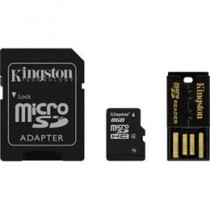 Memory card, microSDHC, 8GB , micro Secure Digital High Capactiy, USB memory card reader, SDHC adapter, Class 4 KINGSTON  (MBLY4G2 / 8GB) / KING-0591