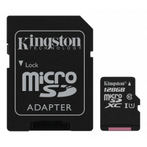 Memory card Kingston Canvas Select microSDXC, 128GB, Class 10 UHS-I, incl. SD card adapter, black SDCS/128GB / KING-2575