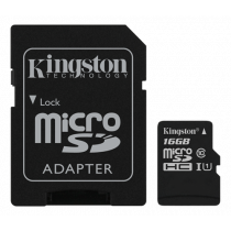 Memory card Kingston Canvas Select microSDHC, 16GB, Class 10 UHS-I, incl. SD card adapter, black SDCS/16GB / KING-2577